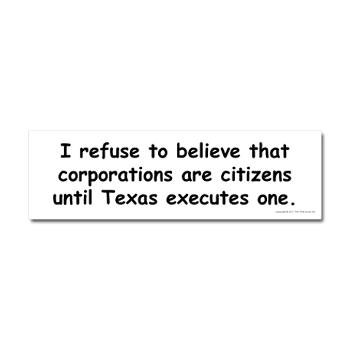 Corporations Are Not Citizens Bumper Sticker